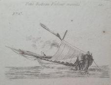"French school Pair small engravings ""Petit Batteau (sic) Pecheur Mouille"" and ""Petit Bateau"