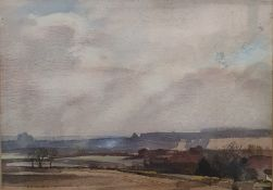 British - 20th century Watercolour Winter landscape scene, unsigned, 17 x 23cm and Ray Evans -