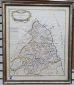 After Robert Morden Hand-coloured map of Northumberland, 45cm x 38cm, an architectural engravingand