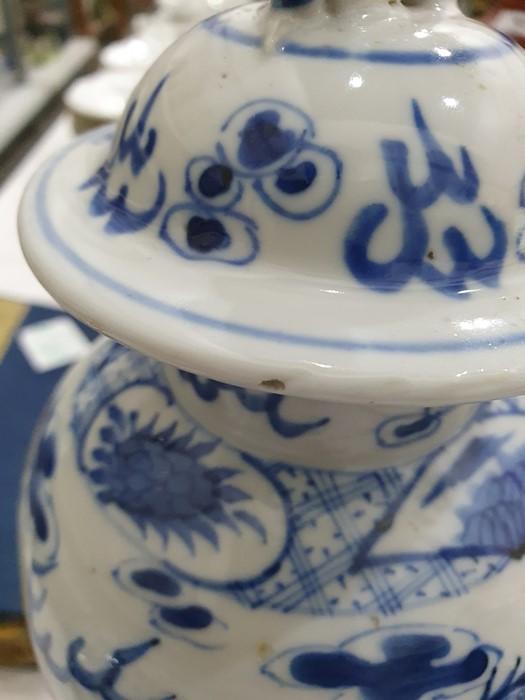 Chinese porcelain hexagonal jar and cover, underglaze blue decoration of lakeside landscape - Image 25 of 25