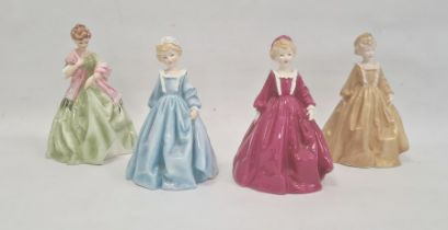 Three Royal Worcester Doughty figures'Grandmother's Dress' in pink, blue and gold and Royal