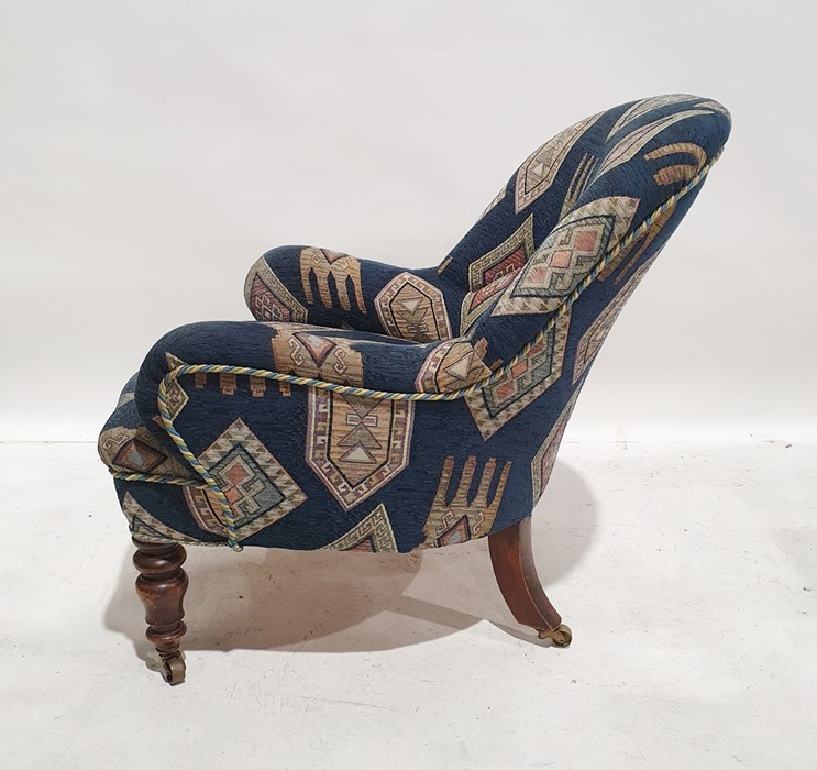 Late 19th/early 20th century armchairby Howard & Sons, reupholstered in blue ground patterned - Image 3 of 8