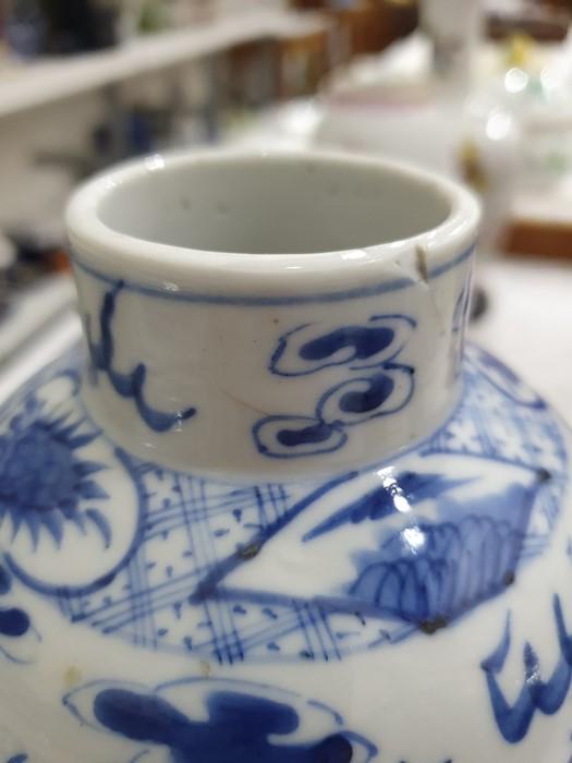 Chinese porcelain hexagonal jar and cover, underglaze blue decoration of lakeside landscape - Image 23 of 25