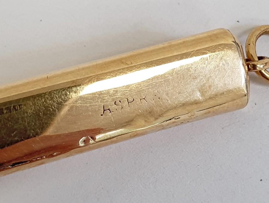 Aspray 18ct gold pencil caseof plain rectangular form with presentation inscription, 8cm long (with - Image 4 of 5
