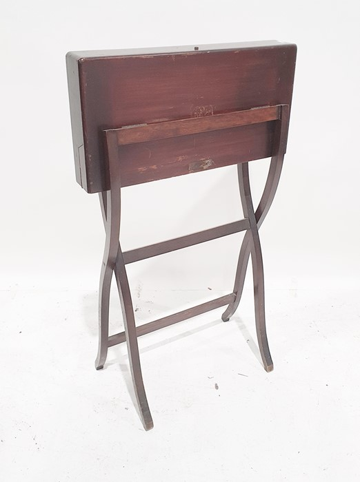 Possibly late 19th century travelling folding writing tablewith fitted interior, folding base