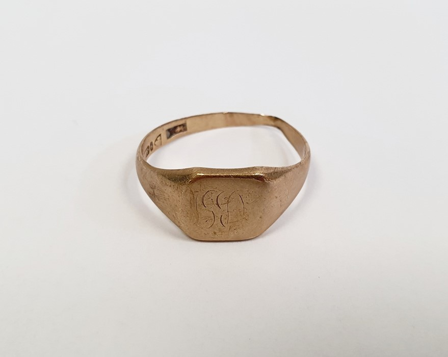 9ct gold signet ring, approx. 4g