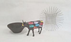 Modern Alessi epoxy resin black coloured steel bowl, circular and stepped, designer model ceramic