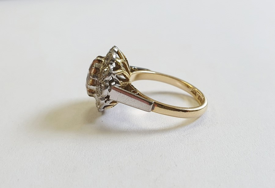 18ct gold, champagne topaz and diamond cluster ring, the centre oval mixed cut topaz surrounded by - Image 2 of 5
