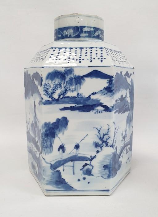 Chinese porcelain hexagonal jar and cover, underglaze blue decoration of lakeside landscape - Image 5 of 25