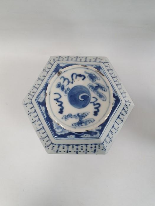 Chinese porcelain hexagonal jar and cover, underglaze blue decoration of lakeside landscape - Image 9 of 25