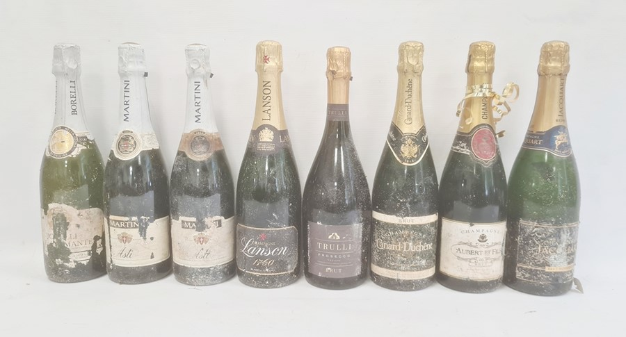 Six bottles of champange and eight other various sparkling winesto include Lanson Black Label,
