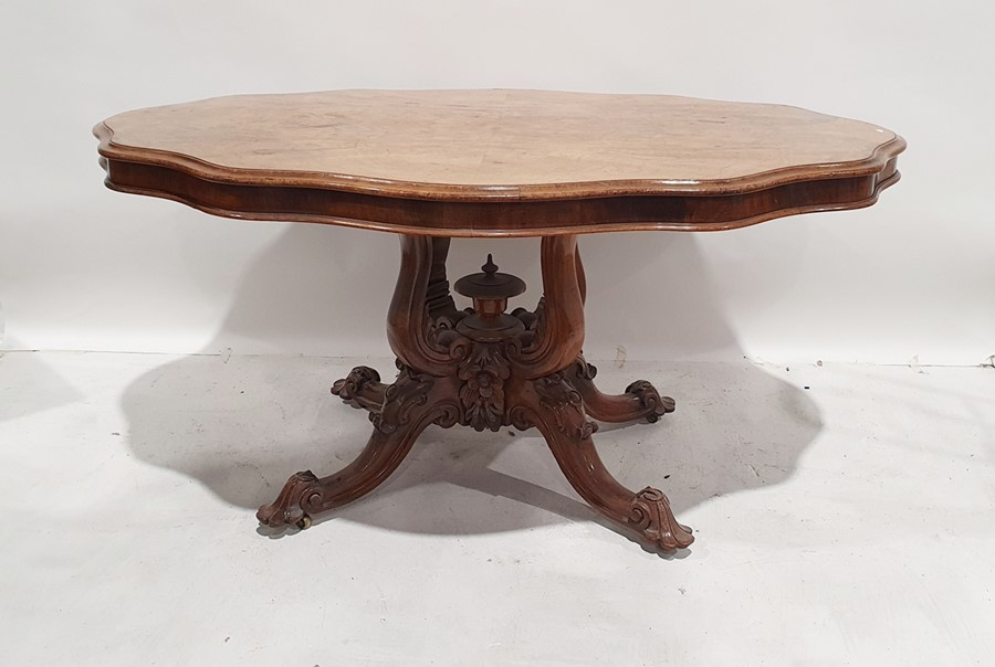 19th century walnut table, the shaped top with moulded edge, on single pedestal support consisting - Image 2 of 3