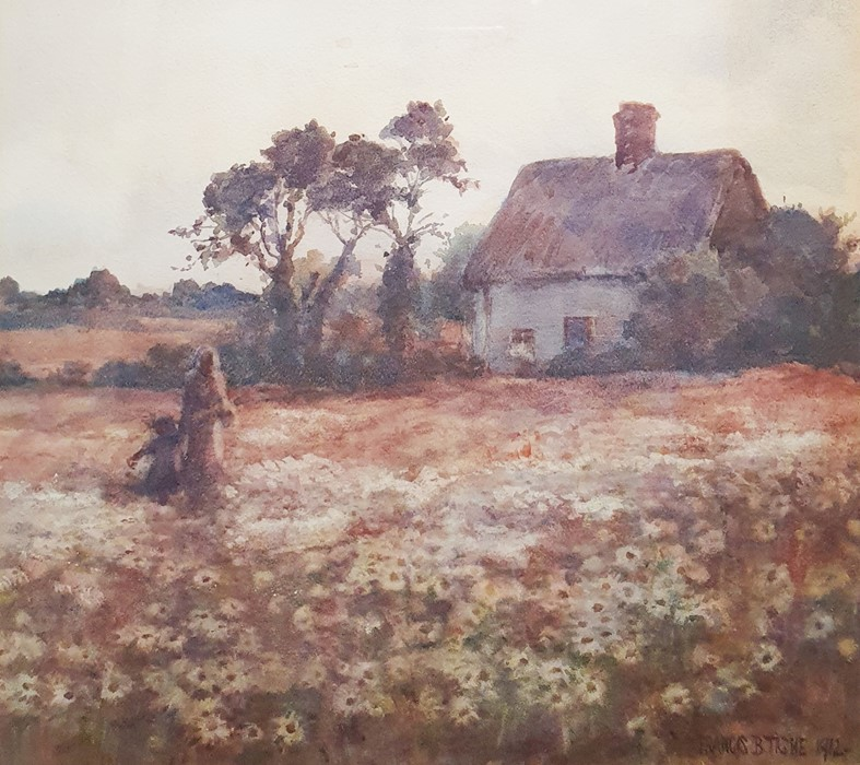 Francis Browne Tighe (c.1885-1926) Watercolour drawing Mother and child in field in front of