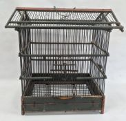 Painted wood and metal birdcage, 56cm high