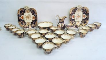 English porcelain Imari pattern part tea service of fluted form, 1820's, printed and painted in gilt