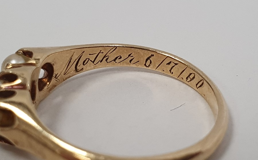Victorian15ct gold ring, Birmingham 1879, set with five split pearls, finger size L, and a gold ring - Image 5 of 5