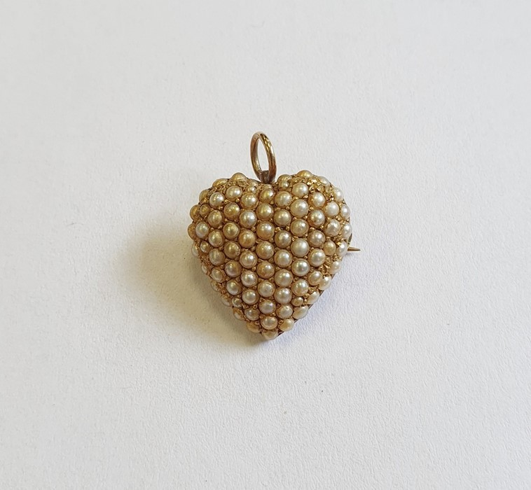 Late 19th/early 20th century gold and seed pearl heart-shaped brooch/pendant, with fleur-de-lis