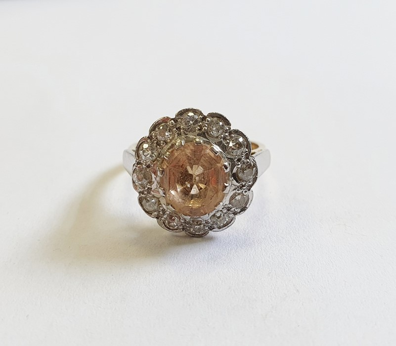 18ct gold, champagne topaz and diamond cluster ring, the centre oval mixed cut topaz surrounded by - Image 3 of 5