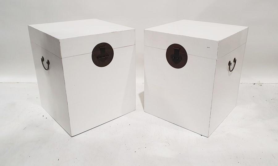 Pair of modern Oka white painted Chinese-style trunks, 50cm x 60cm x 50cm deep (2)