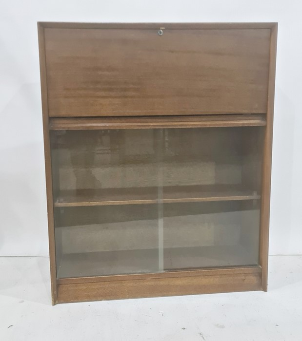 20th century mahogany lounge cabinet, the rectangular top above fall, with pigeonhole interior,