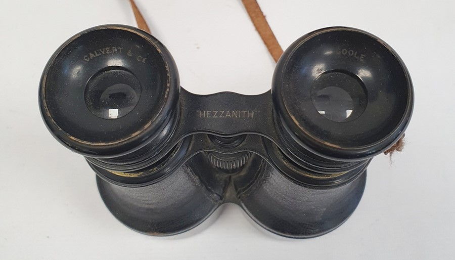Pair of binoculars marked 'Calvert & Co, Goole, Hezzanith' in case with paper label 'Capt. T.Garnon. - Image 2 of 3