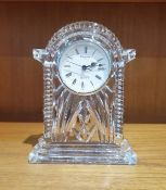 Waterford cut glass timepiece/clock, acid etched mark to base, height approx. 19cm,