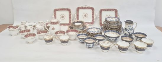Paragon china part tea servicewith puce urn and scroll borders, six Royal Worcester china floral
