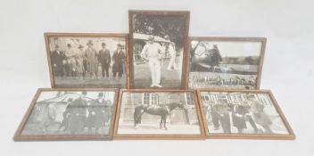 Set of six early 20th century black and white photographs, variously hunting, race meetings, cricket
