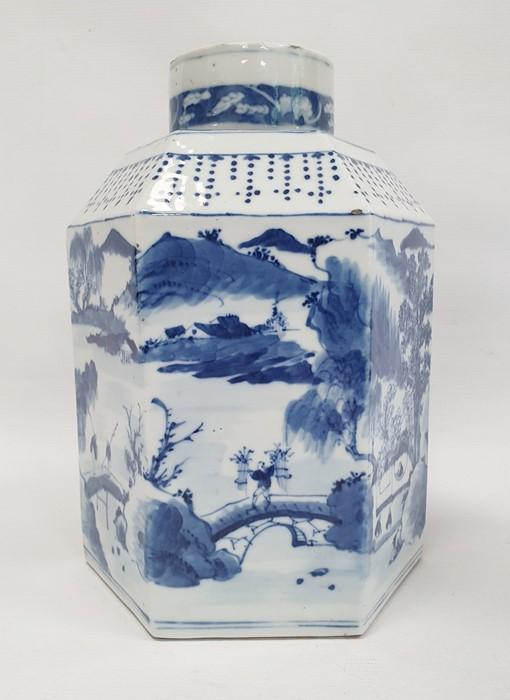Chinese porcelain hexagonal jar and cover, underglaze blue decoration of lakeside landscape - Image 6 of 25