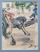 20th century - Unknown artist Pen and coloured wash sketches Figures, all signed and dated H '95, 19