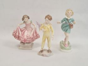Early Royal Doulton china figureof girl in pink tiered dress with green bows, possibly 1941, a