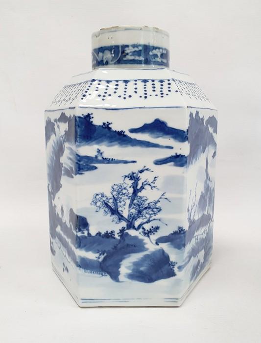 Chinese porcelain hexagonal jar and cover, underglaze blue decoration of lakeside landscape - Image 3 of 25