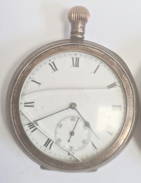 Silver open-faced pocket watch, the enamel dial with subsidiary seconds dial (glass broken), a - Image 4 of 19