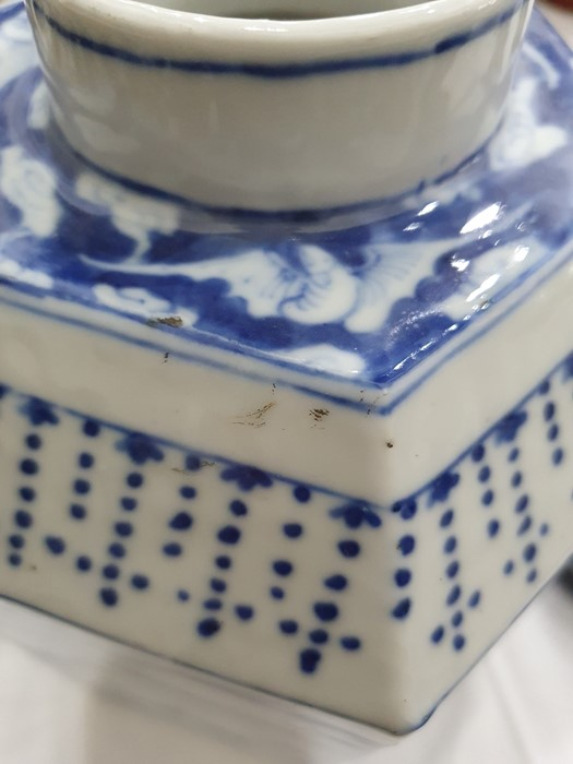 Chinese porcelain hexagonal jar and cover, underglaze blue decoration of lakeside landscape - Image 18 of 25