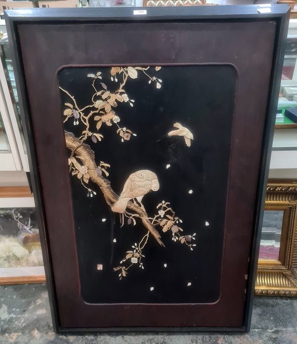 Pair Japanese shibayama lacquer panels, bone and mother-of-pearl inlaid, birds on flowering - Image 2 of 2