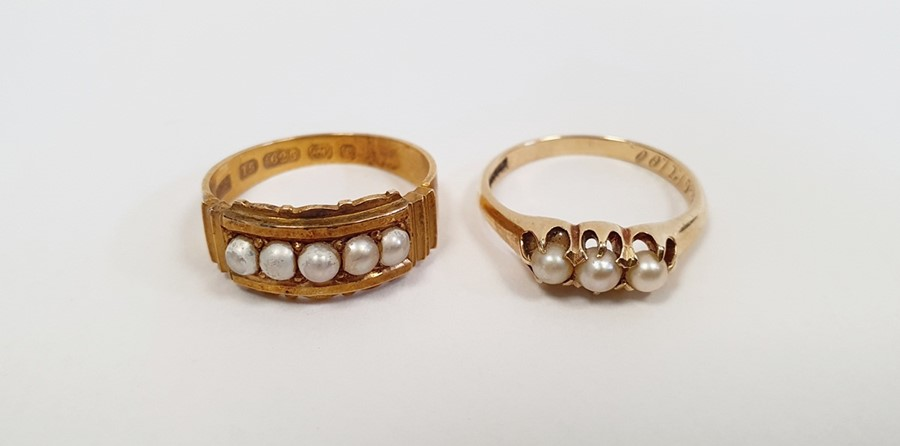 Victorian15ct gold ring, Birmingham 1879, set with five split pearls, finger size L, and a gold ring