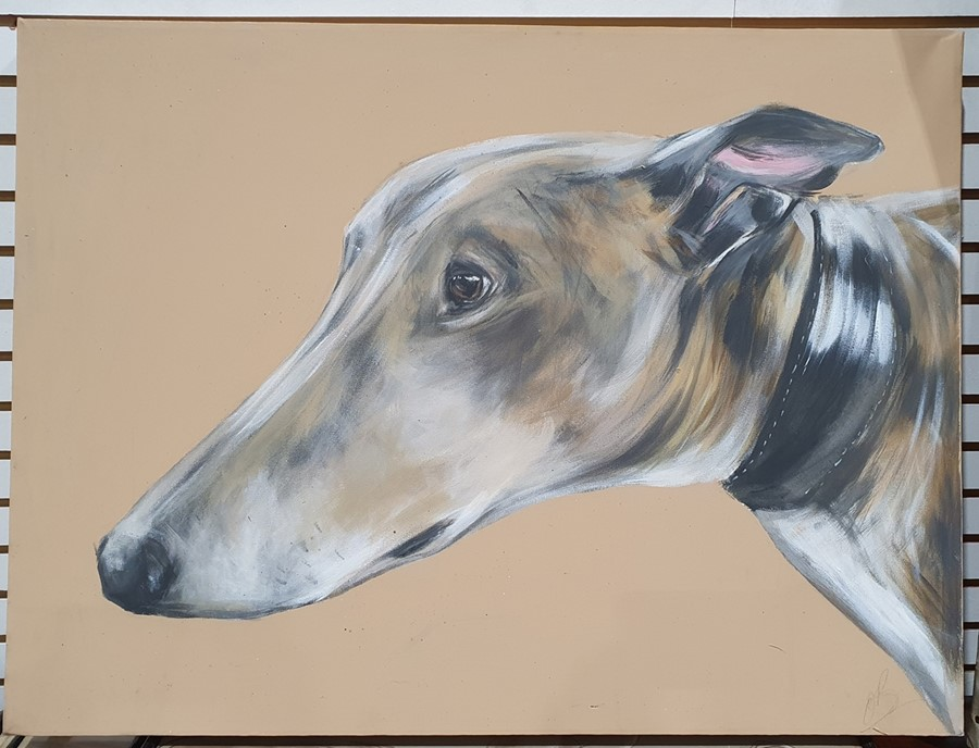 "Bex Barton (21st century) Oils on canvas ""Henry"", 102cm x 76cm (unframed) Greyhound head, 61cm x - Image 4 of 4"