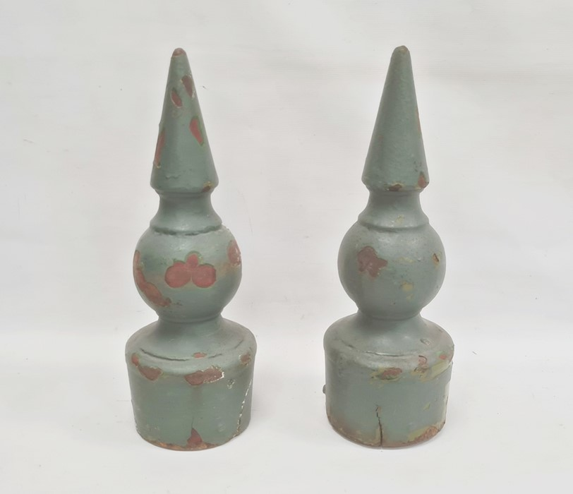 Pair painted metal spires, probably from gate posts, 47cm high and one similar (3)