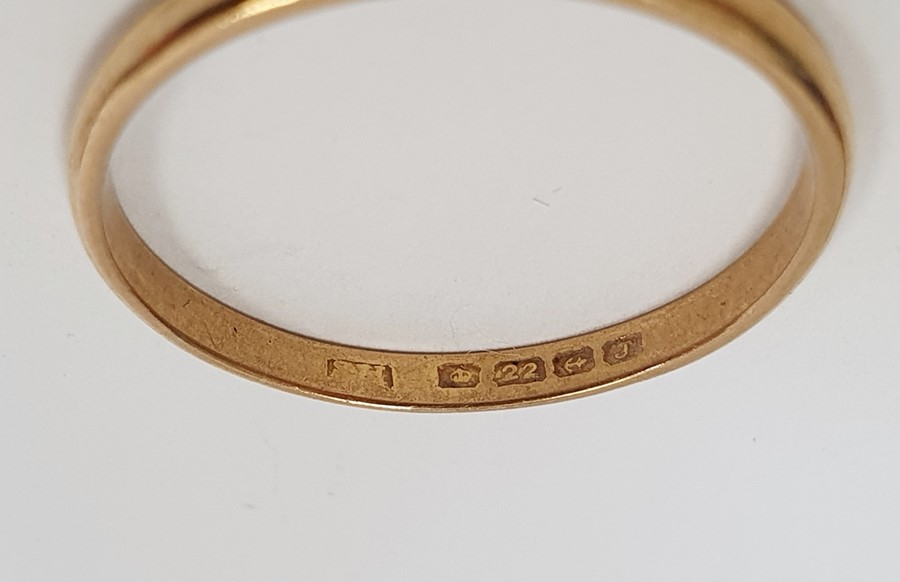22ct gold wedding ring, narrow and worn, approx. 2g and a 9ctgold ring set tiny diamonds (two - Image 2 of 4