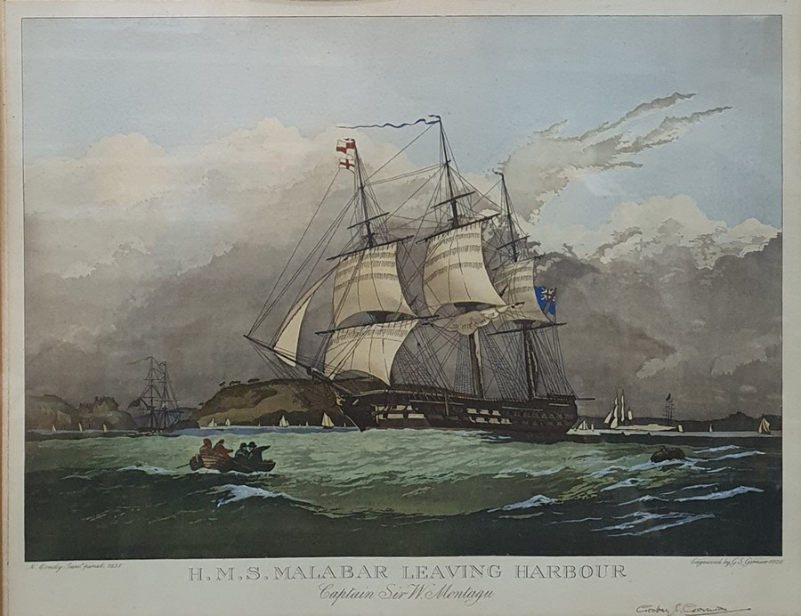 """After N Condy Engraving """"HMS Malabar Leaving Harbour"""", signed in pencil by Geoffrey Garnier, the"""