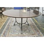 20th century Bill Schofield for Baker metal and mahogany circular dining table (ex-Christies lot 942