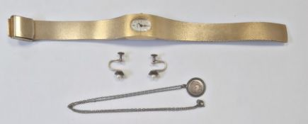 Lady's Montine stainless steel wristwatch, a pair of earrings and a silver fish pendant on chain (3)