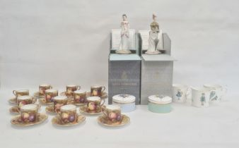 Set of 12 Aynsley fruit painted coffee cans and saucerssigned N Brunt, three Royal Worcester