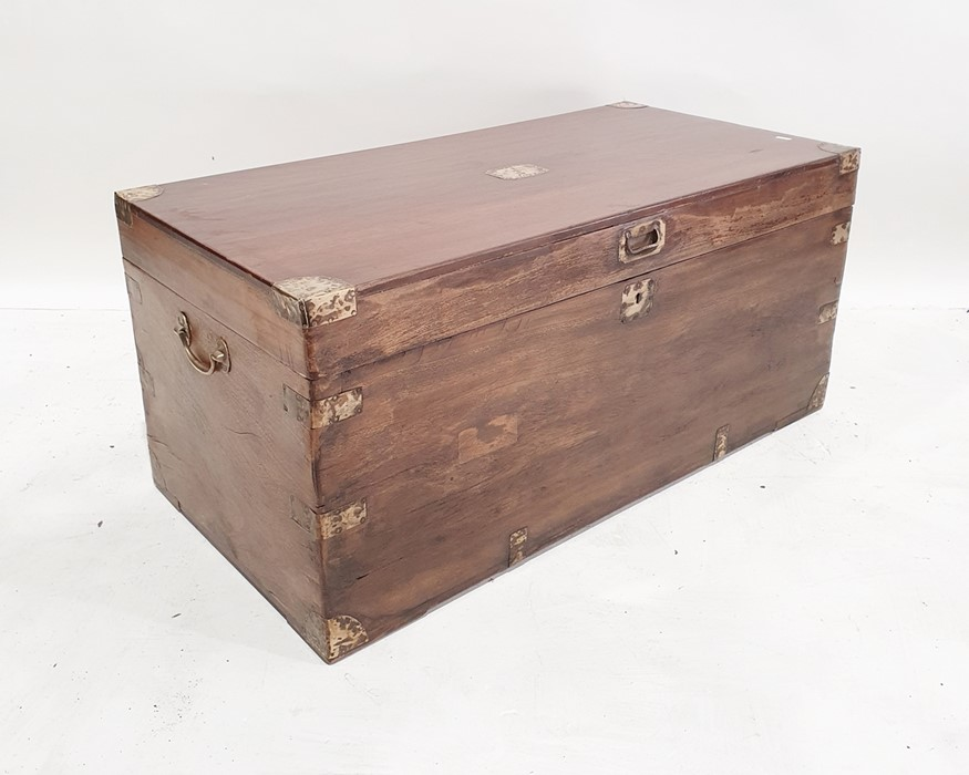Possibly 19th century mahogany campaign trunkwith brass-bound corners, escutcheon and handle, 102cm
