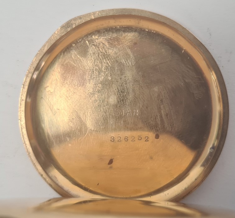 Gold plated open-faced pocket watch, the enamel dial with roman numerals and subsidiary seconds - Image 3 of 3