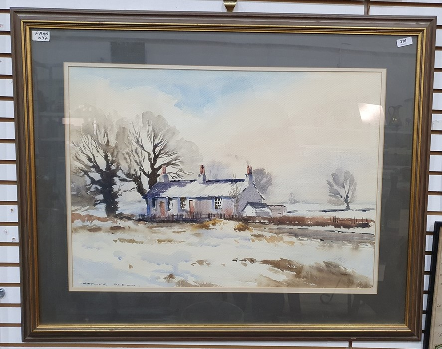 Arthur Gee (1934-2011) Watercolour Cottage in a winter landscape, signed lower left, 51 x 73cm - Image 2 of 3