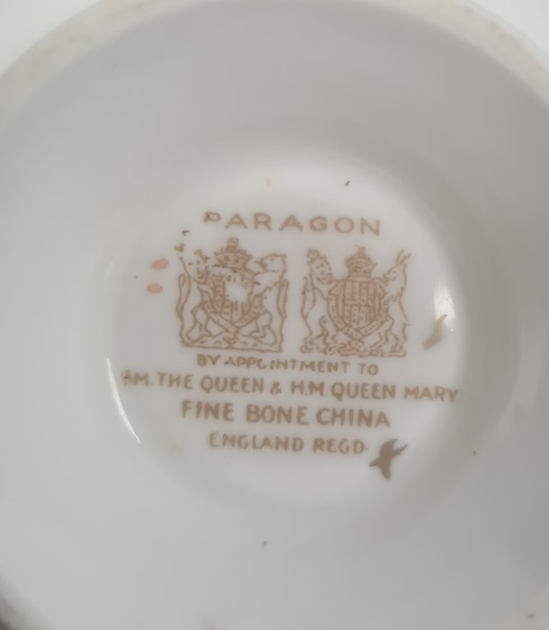 French porcelain inkstand, floral decorated, four cabinet cups and saucersto include Paragon,a - Image 5 of 7