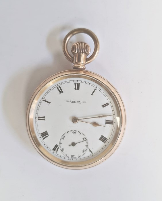 Gold plated open-faced pocket watch, the enamel dial with roman numerals and subsidiary seconds