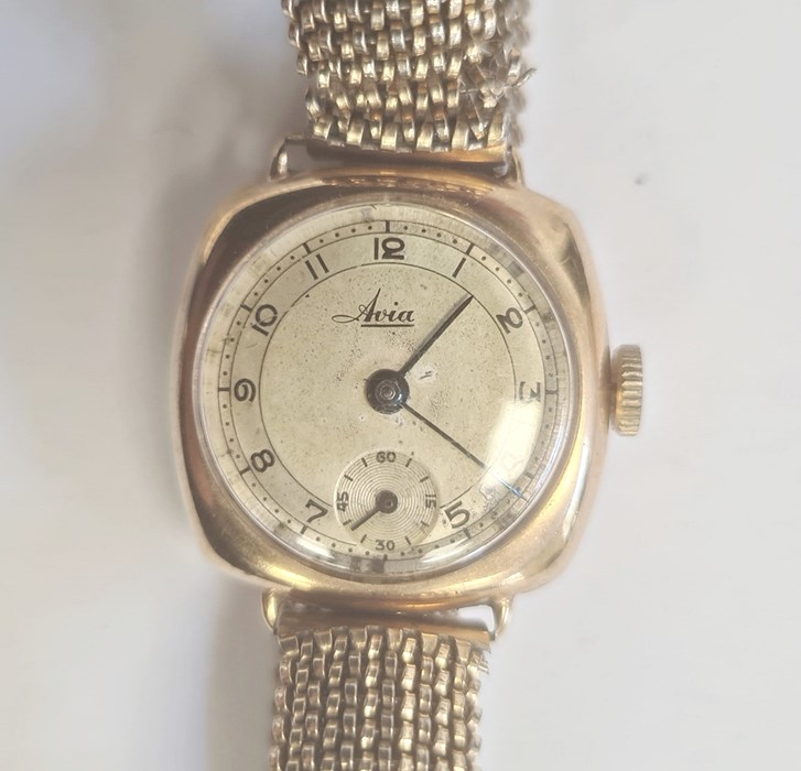 Lady's 9ct gold Avia bracelet watch, the circular dial with arabic numerals and subsidiary seconds - Image 2 of 3