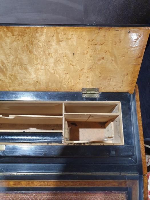 Partly ebonised burrwood 19th century Davenport deskwith leather inset to the slope, 57cm x 90cm - Image 7 of 9